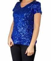 Glitter pailletten stretch shirt blauw dames