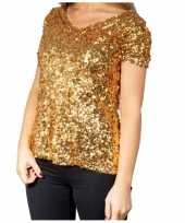 Glitter pailletten stretch shirt goud dames