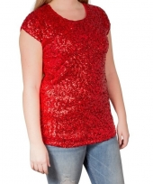 Glitter pailletten stretch shirt rood dames l xl