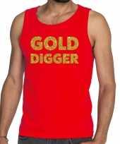 Gold digger fun tanktop mouwloos shirt rood heren