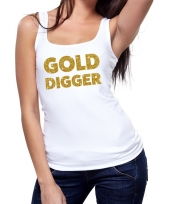 Gold digger fun tanktop mouwloos shirt wit dames