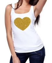 Gouden hart fun tanktop mouwloos shirt wit dames