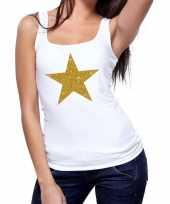 Gouden ster fun tanktop mouwloos shirt wit dames