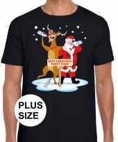 Grote maten foute kerstmis shirt zwart een dronken kerstman rudolf heren