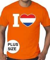 Grote maten i love holland shirt oranje heren