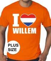 Grote maten i love willem shirt oranje heren