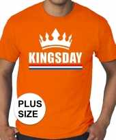Grote maten kingsday koningsdag kroon shirt oranje heren