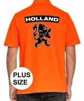 Grote maten koningsdag polo t-shirt oranje holland grote zwarte leeuw heren