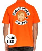 Grote maten koningsdag polo t-shirt oranje sons of willem holland mc heren