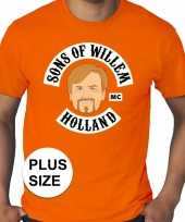 Grote maten koningsdag sons of willem shirt oranje heren