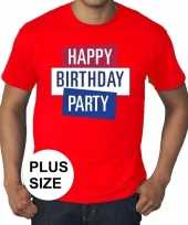 Grote maten officieel toppers concert happy birthday party t-shirt rood heren