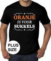 Grote maten zwart oranje is sukkels t-shirt heren
