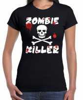 Halloween zombie killer shirt zwart dames zombie killer bedrukking