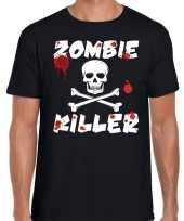 Halloween zombie killer shirt zwart heren zombie killer bedrukking
