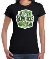 Happy st patricks day feest-shirt outfit zwart dames st patricksday