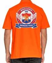Holland drinking team polo t-shirt oranje kroon heren
