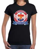 Holland drinking team t-shirt zwart dames