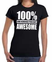 Honderd procent awesome t-shirt zwart dames