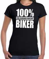 Honderd procent biker motorrijder t-shirt zwart dames