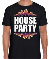 House party fun tekst dance t-shirt zwart heren