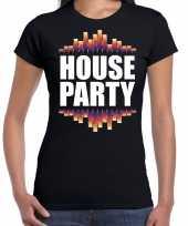 House party fun tekst t-shirt zwart dames