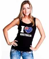 I love australie supporter mouwloos shirt zwart dames