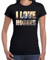 I love horses paarden dieren shirt zwart dames paardenmeisjes