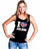 I love ijsland supporter mouwloos shirt zwart dames