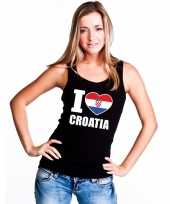 I love kroatie supporter mouwloos shirt zwart dames