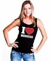 I love marokko supporter mouwloos shirt zwart dames
