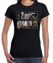 I love owls uilen dieren shirt zwart dames