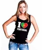I love portugal supporter mouwloos shirt zwart dames