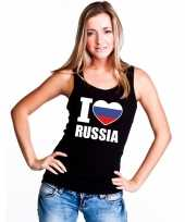 I love rusland supporter mouwloos shirt zwart dames