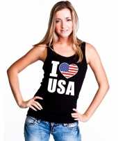 I love usa amerika supporter mouwloos shirt zwart dames
