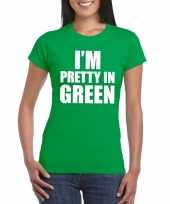 I m pretty green t-shirt groen dames