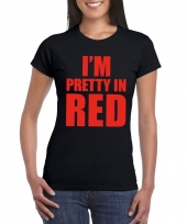 I m pretty red t-shirt zwart dames