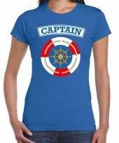 Kapitein captain carnaval verkleed shirt blauw dames
