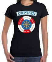 Kapitein captain carnaval verkleed shirt zwart dames