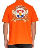 Kingsday drinking team polo t-shirt oranje kroon heren