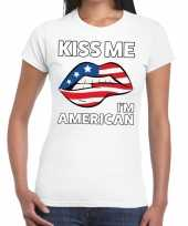 Kiss me i am american wit fun t-shirt dames
