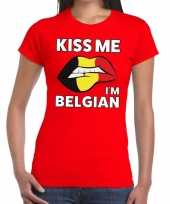 Kiss me i am belgian rood fun t-shirt dames