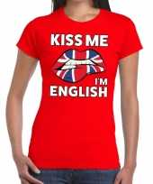 Kiss me i am english rood fun t-shirt dames