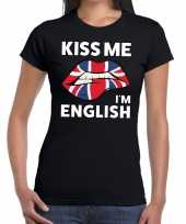 Kiss me i am english zwart fun t-shirt dames