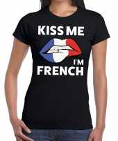 Kiss me i am french zwart fun t-shirt dames