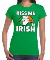 Kiss me i am irish groen fun t-shirt dames