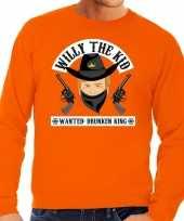 Koningsdag fun sweatshirt willy the kid oranje heren