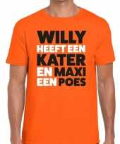 Koningsdag fun t-shirt willy kater maxi poes oranje heren