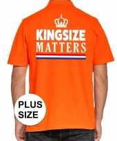 Koningsdag kingsize matters polo t-shirt oranje kroon heren