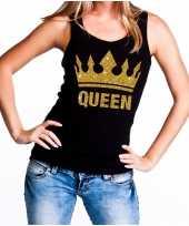 Koningsdag queen topje shirt zwart gouden glitters dames