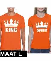 Koppel shirts koningsdag king queen oranje dames heren maat l